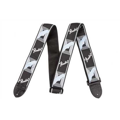 "Fender 2"" Monogrammed Strap Black/Light Grey/Blue"