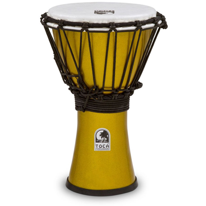 "Bild på Toca Freestyle Colorsound 7"" Djembe  Metallic Yellow"