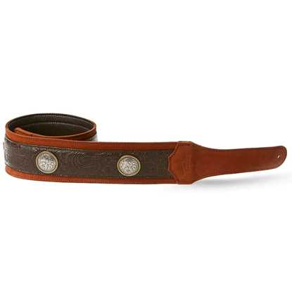 """Taylor Grand Pacific Brown Leather Nickel Conchos 3"""" Axelband"""