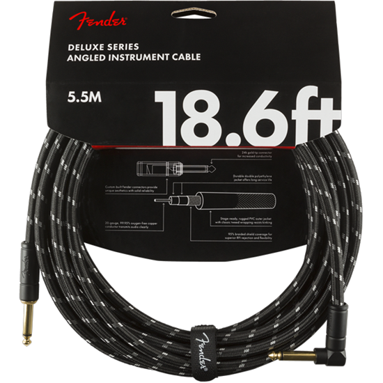 Fender Deluxe Series Instrument Cable 18,6' Angled Black Tweed